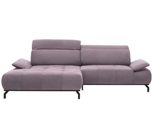 WOHNLANDSCHAFT in Textil Altrosa, Rosa  - Schwarz/Altrosa, Design, Textil/Metall (175/270cm) - Carryhome