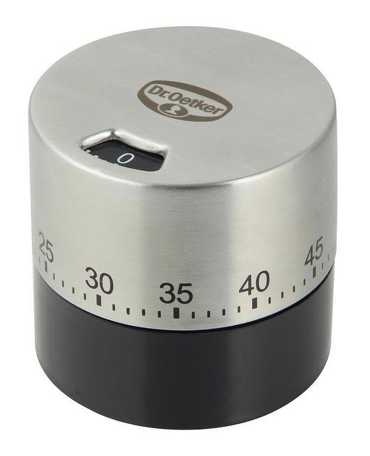 KURZZEITWECKER - Silberfarben/Schwarz, Basics, Kunststoff/Metall (6,5/6cm) - Dr.Oetker
