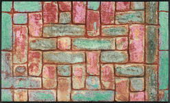 FUßMATTE 75/120 cm Mauer Grün, Multicolor, Weinrot - Weinrot/Multicolor, Basics, Kunststoff/Textil (75/120cm) - Esposa