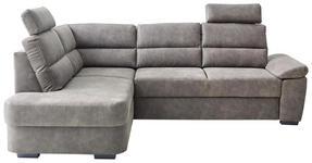 WOHNLANDSCHAFT Grau Lederlook  - Dunkelbraun/Grau, KONVENTIONELL, Kunststoff/Textil (193/251cm) - Cantus