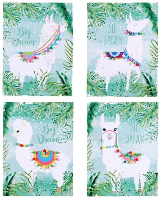 BILDERSET Lama - Multicolor, Trend, Holz/Textil (30/40cm)