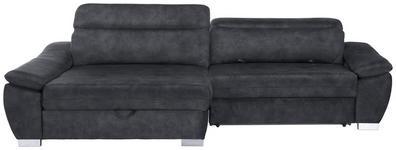 WOHNLANDSCHAFT in Textil Anthrazit  - Anthrazit/Silberfarben, MODERN, Kunststoff/Textil (175/270cm) - Carryhome