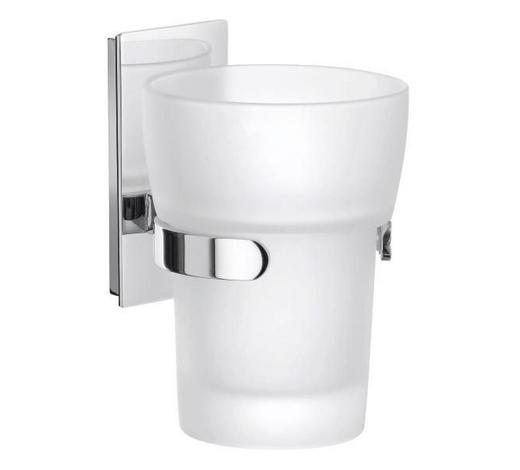 ZAHNPUTZBECHER Metall, Glas - Chromfarben, Basics, Glas/Metall (7/11,2/9cm)