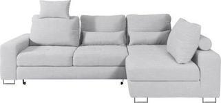 WOHNLANDSCHAFT in Textil Hellgrau - Hellgrau, Design, Textil/Metall (260/188cm) - Hom`in