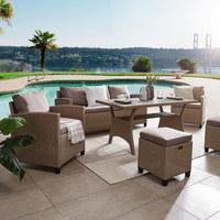 DINING-LOUNGESET Kunststoffgeflecht, Polywood® Stahl - Hellbraun, KONVENTIONELL, Kunststoff/Metall (//null) - Ambia Garden