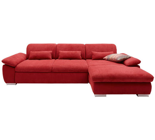 WOHNLANDSCHAFT in Textil Bordeaux - Chromfarben/Bordeaux, Design, Textil/Metall (292/200cm) - Hom`in