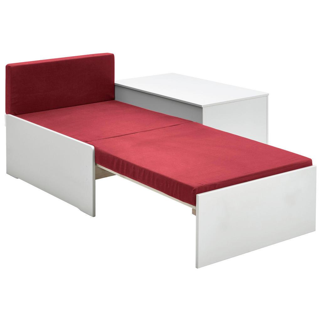 Weißes Ausziehbett mit roter Matratze von CarryHome