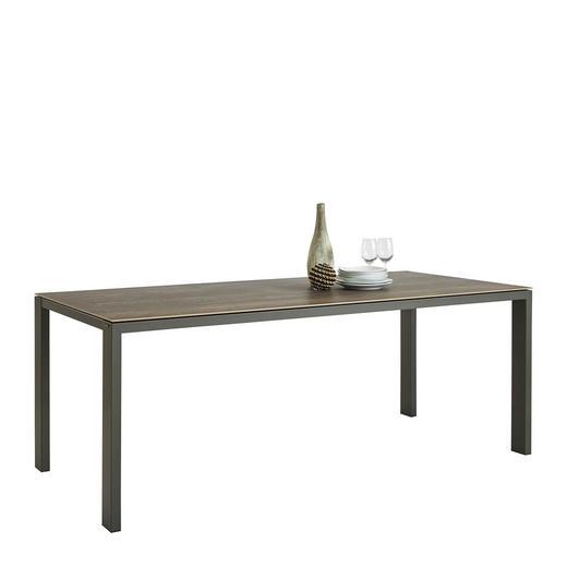 ESSTISCH rechteckig Grau, Mooreichefarben - Mooreichefarben/Grau, Design, Keramik/Metall (200/100/77cm) - Musterring