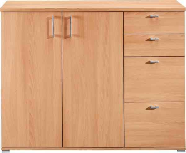 KOMMODE in Buchefarben - Buchefarben/Alufarben, Design, Holzwerkstoff/Kunststoff (131/103/43cm) - CS SCHMAL