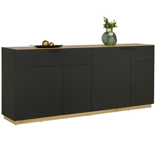 KOMODA SIDEBOARD - černá/barvy dubu, Design, kompozitní dřevo/umělá hmota (200/84/41,5cm)
