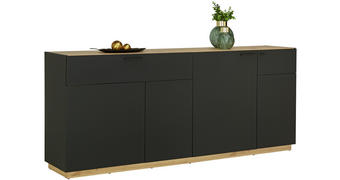 PŘÍBORNÍK/KOMODA, černá, barvy dubu - černá/barvy dubu, Design, kompozitní dřevo/umělá hmota (200/84/41,5cm)