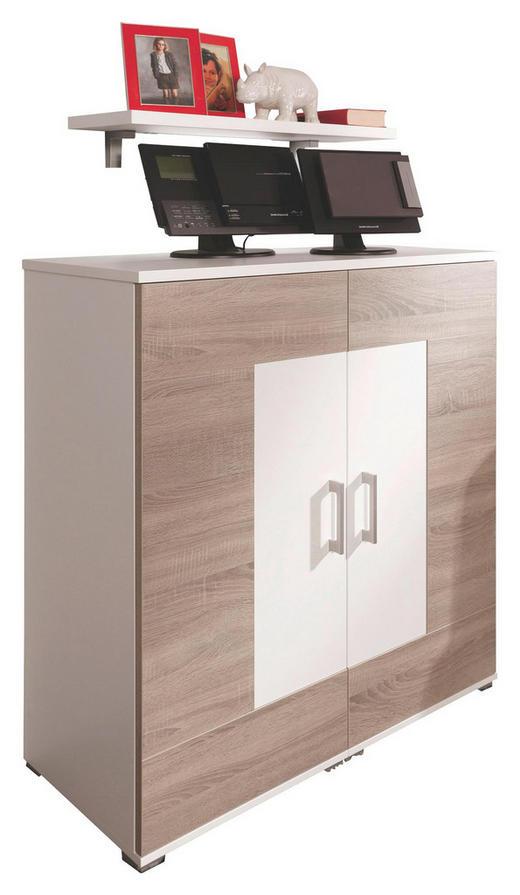 SIDEBOARD melaminharzbeschichtet Eichefarben, Weiß - Eichefarben/Alufarben, Design, Holzwerkstoff/Kunststoff (100/111,4/44,3cm) - Cantus