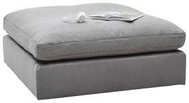 HOCKER Chenille, Mikrofaser Grau - Schwarz/Grau, Design, Kunststoff/Textil (122/46/122cm) - Hom`in
