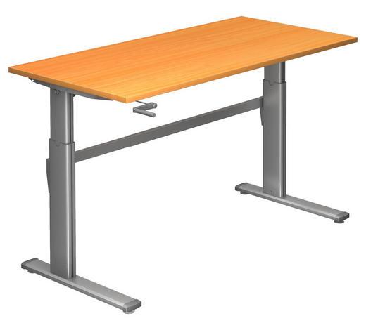 SCHREIBTISCH - Silberfarben/Buchefarben, Design, Holzwerkstoff/Metall (160/72-119/80cm)