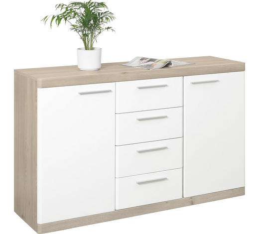 KOMODA SIDEBOARD - bílá/barvy dubu, Konvenční, kov/kompozitní dřevo (135/92/43cm) - Xora