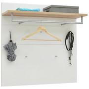 Garderobenpaneel - Eichefarben/Weiß, Design, Glas/Holzwerkstoff (97/97/30cm) - Voleo