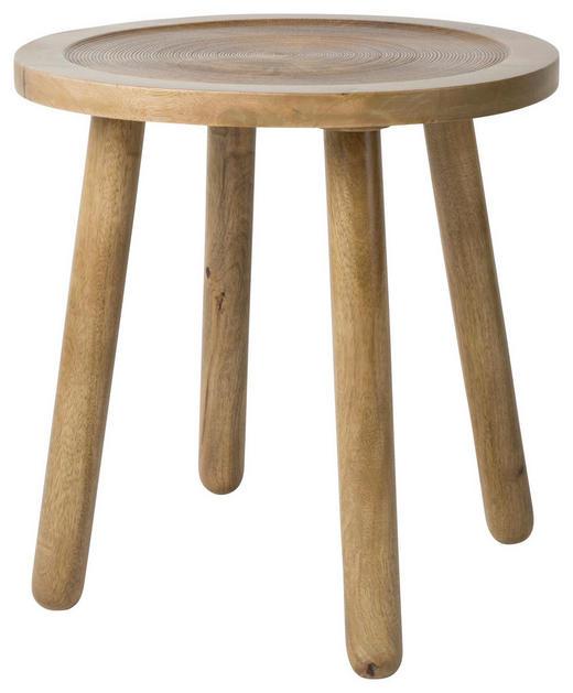 BEISTELLTISCH Mangoholz massiv rund Naturfarben - Naturfarben, Design, Holz (43/45cm)
