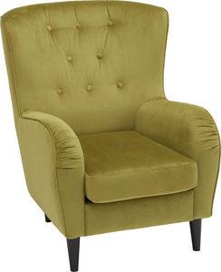 ÖRONLAPPSFÅTÖLJ - grön/svart, Trend, trä/textil (69-74/82/95cm) - Ambia Home