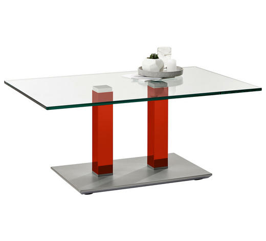 COUCHTISCH in Metall, Glas 110/70/46-65 cm - Edelstahlfarben/Rot, Design, Glas/Kunststoff (110/70/46-65cm)