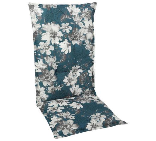 SESSELAUFLAGE Blume - Petrol/Weiß, Basics, Textil (50/120/6cm)