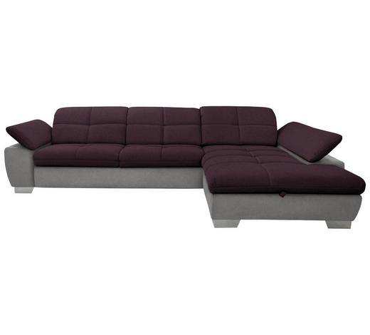 WOHNLANDSCHAFT in Textil Grau, Violett - Chromfarben/Violett, Design, Textil/Metall (297/204cm) - Xora