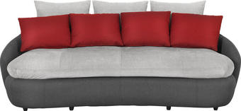 MEGA POHOVKA, černá, červená, šedá, textil - šedá/černá, Design, textil/umělá hmota (238/80/143cm) - Hom`in