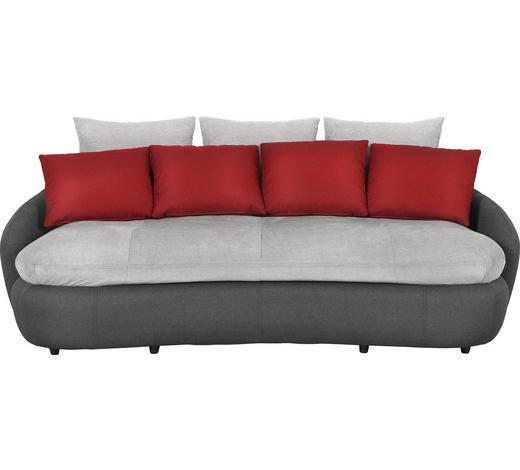 MEGA POHOVKA, šedá, červená, černá, textil, - šedá/černá, Design, textil/umělá hmota (238/80/143cm) - Hom`in