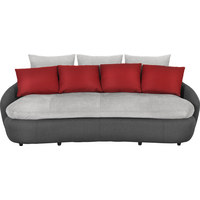 MEGASOFA in Grau, Rot, Schwarz Textil - Rot/Schwarz, Design, Kunststoff/Textil (238/80/143cm) - Hom`in