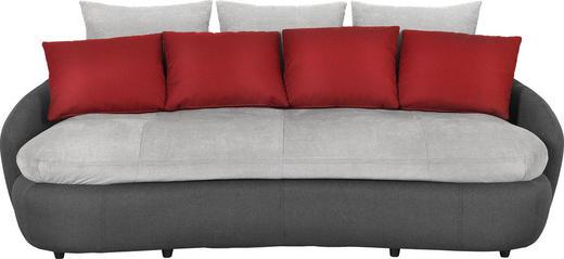 MEGASOFA Flachgewebe Grau, Rot, Schwarz - Rot/Schwarz, Design, Kunststoff/Textil (238/80/143cm) - Hom`in