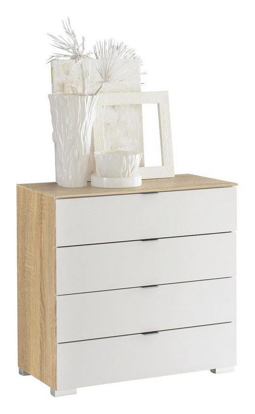 KOMMODE Sonoma Eiche, Weiß - Alufarben/Weiß, Design, Glas/Kunststoff (80/80/40cm) - Moderano