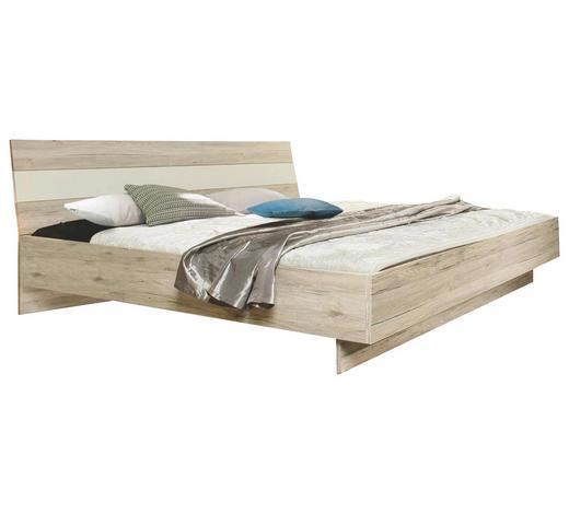 BETT 180/200 cm - Eichefarben/Weiß, Design, Holzwerkstoff (180/200cm) - Carryhome