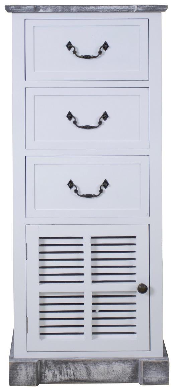 KOMMODE Paulownia massiv Grau, Schwarz, Weiß - Schwarz/Weiß, Basics, Holz/Metall (38/94/28cm)