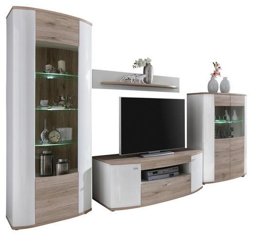 WOHNWAND - Eichefarben/Silberfarben, Design, Glas/Kunststoff (330/193/58cm) - Carryhome