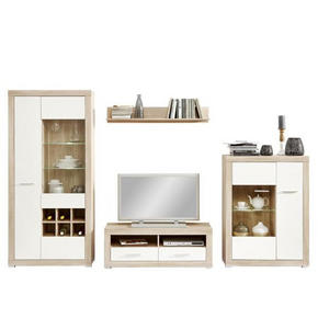 HYLLKOMBINATION - vit/alufärgad, Klassisk, glas/träbaserade material (324/193,2/40cm) - Carryhome