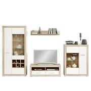 REGAL ZA DNEVNI BORAVAK - bijela/boje hrasta, Konvencionalno, staklo/drvni materijal (324/193,2/40cm) - Carryhome