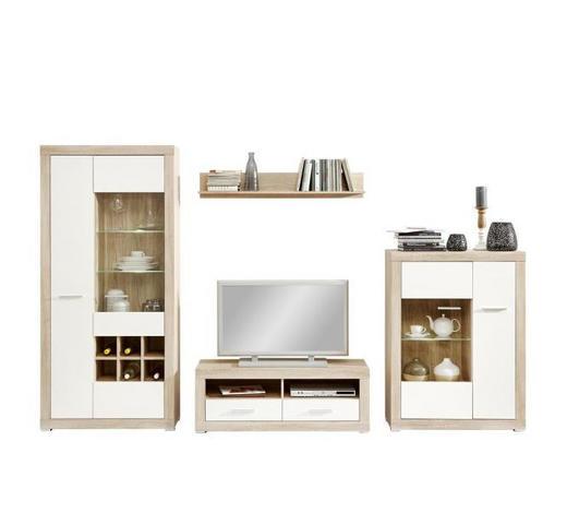 WOHNWAND in Weiß, Eichefarben  - Eichefarben/Silberfarben, KONVENTIONELL, Glas/Holzwerkstoff (324/193,2/40cm) - Carryhome