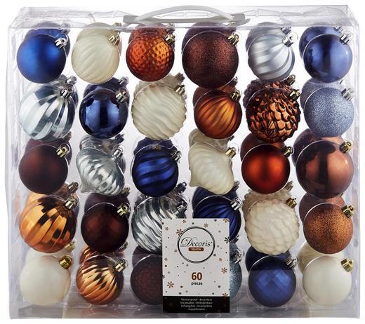 CHRISTBAUMKUGEL-SET  60-teilig Blau, Braun, Rostfarben, Weiß - Blau/Rostfarben, Kunststoff