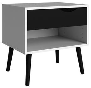 SÄNGBORD - vit/svart, Design, trä/träbaserade material (50,2/49,7/39,1cm) - Hom`in