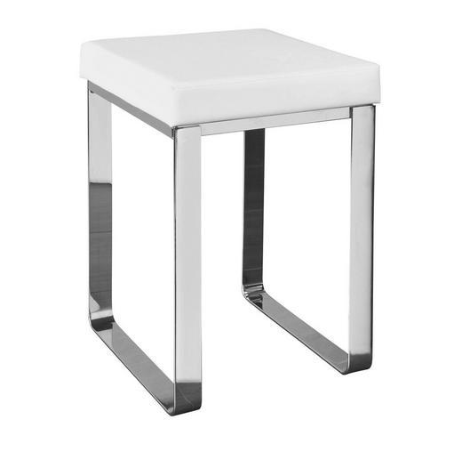 BADHOCKER - Chromfarben/Weiß, Design, Textil/Metall (37/47/35cm)