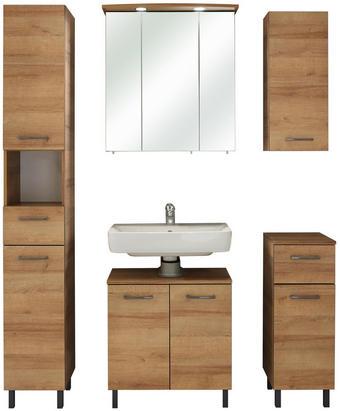 WASCHTISCHKOMBI - Eichefarben/Grau, Basics, Glas/Holzwerkstoff (120/195,5/33cm) - Xora