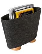 STOJAN NA NOVINY - barvy dubu/antracitová, Design, dřevo/textil (41/29/14cm)