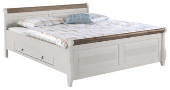 BETT Kiefer massiv 180/200 cm - Weiß/Grau, Design, Holz (180/200cm) - Carryhome