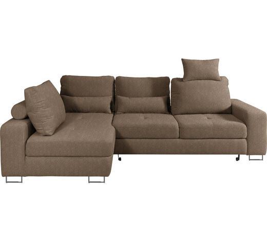 WOHNLANDSCHAFT in Textil Hellbraun - Hellbraun, Design, Textil/Metall (188/260cm) - Hom`in