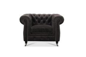 FÅTÖLJ - svart/grå, Klassisk, metall/trä (114/77/95cm) - Low Price