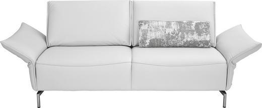 2,5-SITZER in Leder Weiß - Weiß/Nickelfarben, Design, Leder/Metall (200/82-107/88-96cm) - Koinor