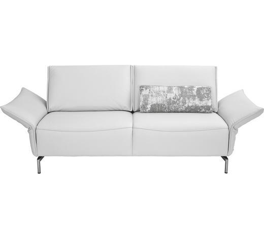 2,5-SITZER Echtleder Weiß  - Weiß/Nickelfarben, Design, Leder/Metall (200/82-107/88-96cm) - Koinor
