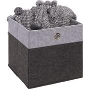 FALTBOX Metall, Textil, Karton Anthrazit, Hellgrau  - Anthrazit/Hellgrau, Design, Karton/Textil (32/32/32cm) - Carryhome