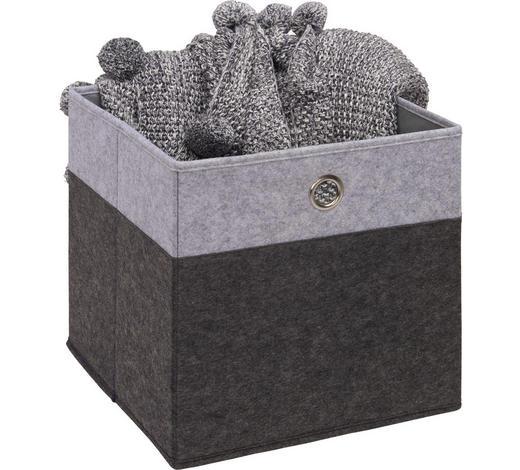 FALTBOX - Anthrazit/Hellgrau, Design, Karton/Textil (32/32/32cm) - Carryhome