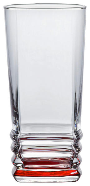 LONGDRINKGLAS - klar/röd, Klassisk, glas (6,8/14cm) - Homeware
