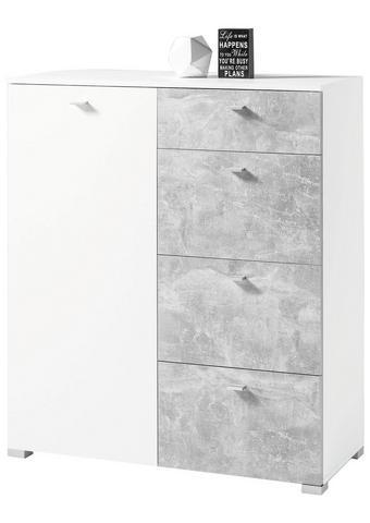 KOMODA, siva, bela  - siva/bela, Design, umetna masa/leseni material (100/116/42cm) - Ti`me